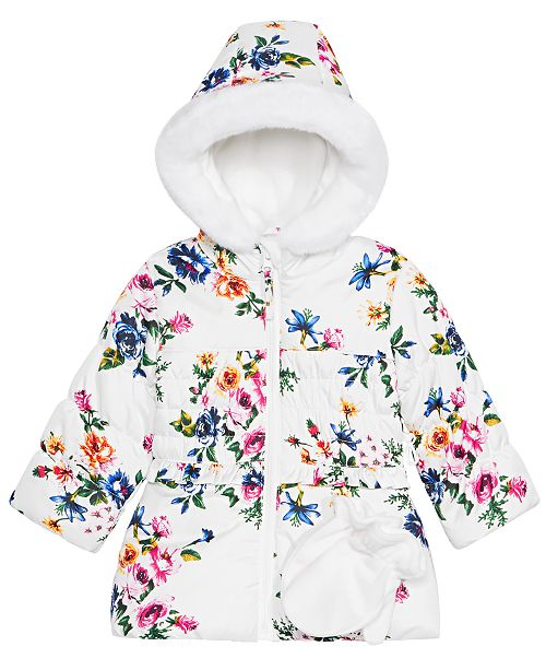 S Rothschild & CO Baby Girls Floral-Print Hooded Smocked Jacket & Mittens