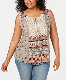 Plus Size Printed Lace-Trim Sleeveless Top, Created for Macy's