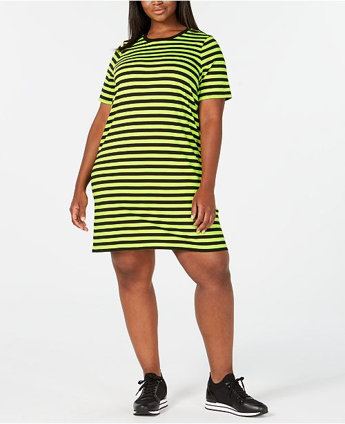 Michael Kors Plus Size Striped T-Shirt Dress & Reviews ...