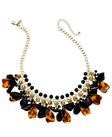 """I.N.C. Gold-Tone Tortoise-Look Petal Shaky Statement Necklace, 18"""" + 3"""" extender, Created for Macy's"""
