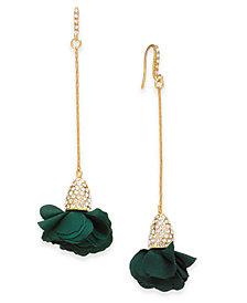 I.N.C. Fabric-Flower Drop Earrings, Created for Macy's
