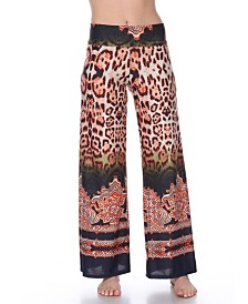 White Mark Animal Print Palazzo Pants