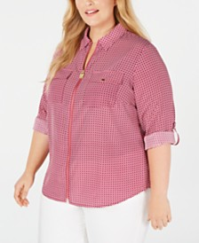 Michael Michael Kors Plus Size Printed Roll-Tab Shirt