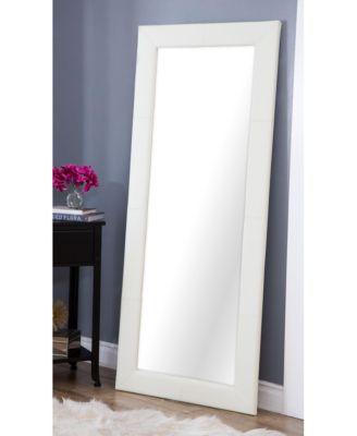 ... Abbyson Living Kiowa White Leather Floor Mirror ...