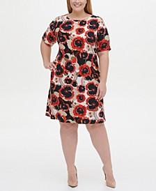 Plus Size Jersey Floral A-line Dress
