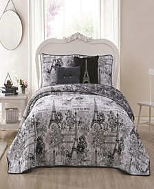 Amour Paris Themed 5pc Queen Reversible Quilt Set