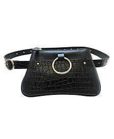 Fashion Focus Accessories Modern Geometric Croco Embossed Belt Bag