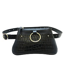 Fashion Focus Accessories Modern Geometric Croco Embossed Belt Bag