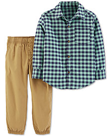 Carter's Toddler Boys 2-Pc. Cotton Gingham Button-Front Top & Poplin Pants Set