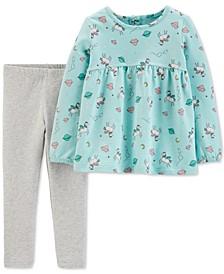 Toddler Girls 2-Pc. Unicorn-Print Top & Leggings Set