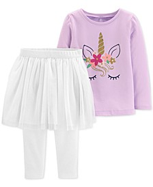 Toddler Girls 2-Pc. Glitter Unicorn-Print Top & Tutu Leggings Set
