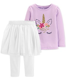 Carter's Toddler Girls 2-Pc. Glitter Unicorn-Print Top & Tutu Leggings Set