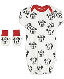 Baby Girls 2-Pc. Organic Cotton Minnie Mouse Gown & Mitts Set