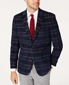 Tommy Hilfiger Men's Modern-Fit THFlex Stretch Navy/Red Plaid Corduroy Sport Coat
