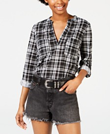 Crave Fame Juniors' 3/4-Sleeve Plaid Shirt