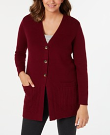 Karen Scott Mixed-Stitch Button-Front Cardigan, Created for Macy's
