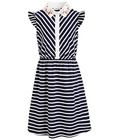 Big Girls Embroidered-Collar Striped Dress