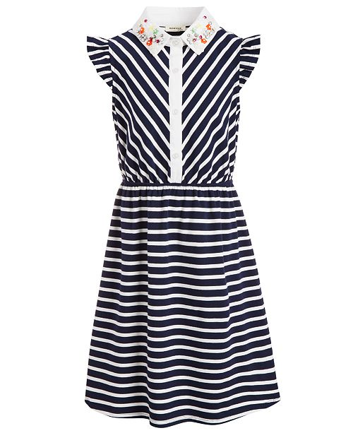 Monteau Big Girls Embroidered-Collar Striped Dress