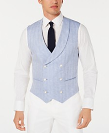 Tallia Men's Slim-Fit Herringbone Double-Breasted Suit Vest