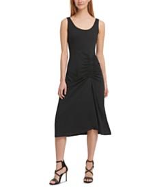 DKNY Draped Midi Tank Dress