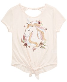 Big Girls Tie-Front Unicorn Flip Sequin T-Shirt