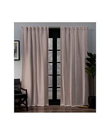 "Exclusive Home Lancaster Basket Weave Woven Blackout Hidden Tab Top 52"" X 84"" Curtain Panel Pair"