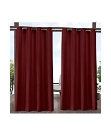 """Exclusive Home Delano Heavyweight Textured Indoor/Outdoor Grommet Top 54"""" X 84"""" Curtain Panel Pair"""