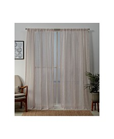 """Exclusive Home Santos Embellished Sheer Rod Pocket Top 54"""" X 108"""" Curtain Panel Pair"""