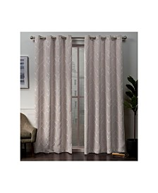 """Exclusive Home Belmont Embroidered Woven Blackout Grommet Top 52"""" X 84"""" Curtain Panel Pair"""