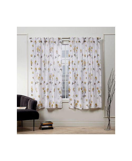 """Exclusive Home Nicole Miller La Petite Fleur Floral Cotton Hidden Tab Top 50"""" X 63"""" Curtain Panel Pair"""