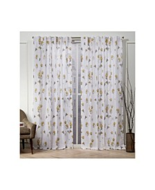 """Nicole Miller La Petite Fleur Floral Cotton Hidden Tab Top 50"""" X 84"""" Curtain Panel Pair"""