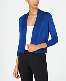 Anne Klein Cropped Open-Front Cardigan