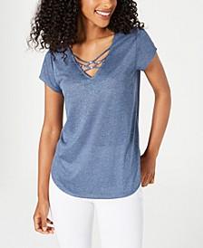 Juniors' Lattice-Front T-Shirt