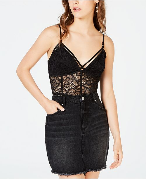 Material Girl Juniors' Lace Bodysuit, Created for Macy's