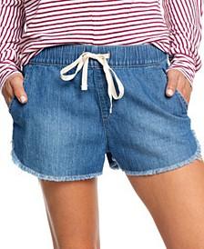 Juniors' Cotton Drawstring Denim Shorts