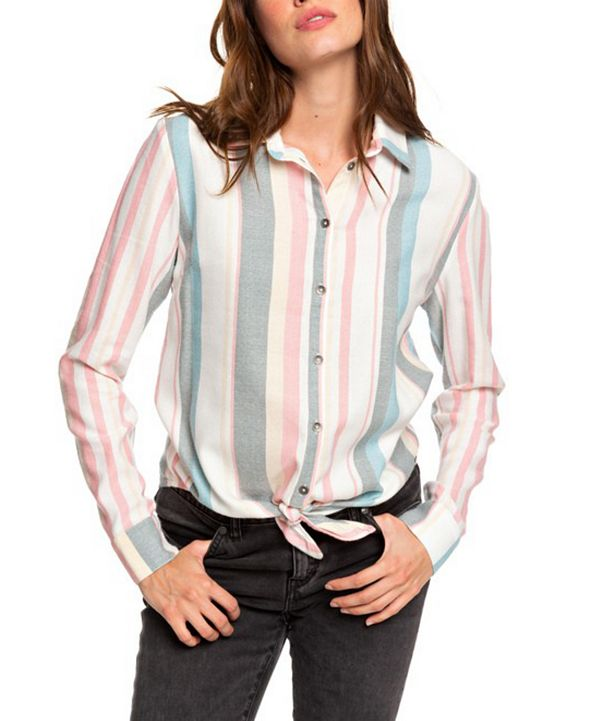 Roxy Juniors' Striped Tie-Front Shirt