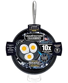 "Granite Stone Diamond 14"" Titanium Nonstick Skillet with Helper Handle"