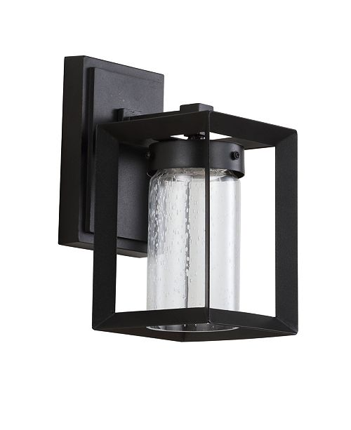 """JONATHAN Y Nate 9.7"""" Outdoor Modern Cube Bubble Glass/Metal Integrated LED Sconce"""