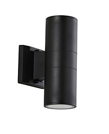 """Duo 9.75"""" Cylinder Outdoor Metal/Glass Integrated LED Sconce with Uplight"""