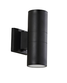 "JONATHAN Y Duo 9.75"" Cylinder Outdoor Metal/Glass Integrated LED Sconce with Uplight"