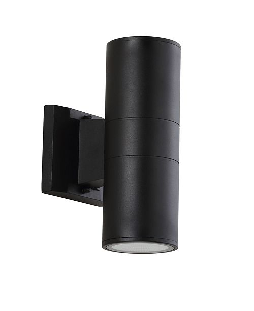 """JONATHAN Y Duo 9.75"""" Cylinder Outdoor Metal/Glass Integrated LED Sconce with Uplight"""