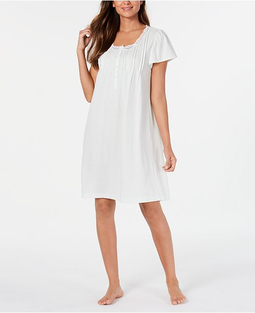 Miss Elaine Women's Knit Lace-Trim Nightgown