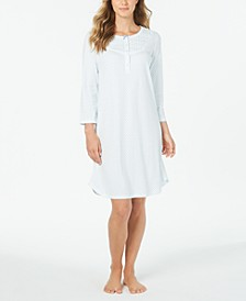Knit Floral-Print Long Sleeve Nightgown