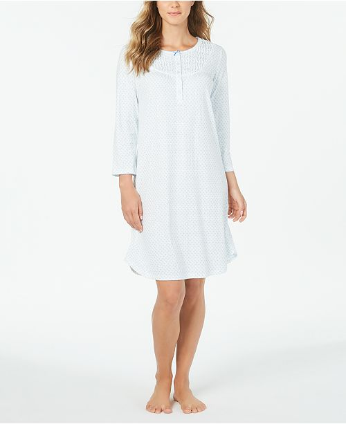 Miss Elaine Knit Floral-Print Long Sleeve Nightgown