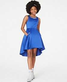 Big Girls Beaded Satin High-Low Dress