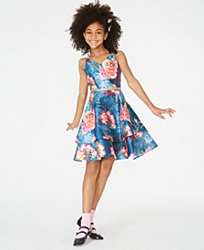 Rare Editions Big Girls Floral-Print Tiered Dress