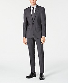 Men's Slim-Fit Gray Sharkskin Suit Separates