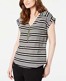 Petite Striped Zip-Detail Top