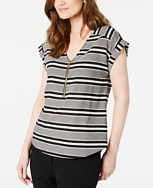 Calvin Klein Petite Striped Zip-Detail Top