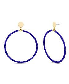 """Steve Madden Women's Extra Large Blue Beaded Hoop Earrings, 3.05"""""""